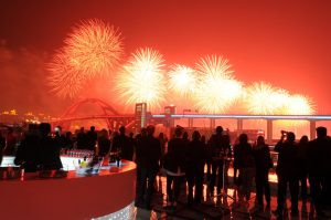Expo's opening-night fireworks light up the Shanghai skyline on the evening of April 20, 2010. These photographs are taken from the rooftop bar on the Swedish pavilion. By Stefan Geens
